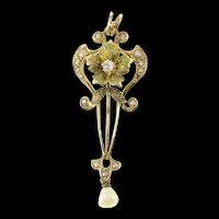 14K Ornate Victorian Diamond Seed Pearl Drop Pendant Yellow Gold [CXQQ]