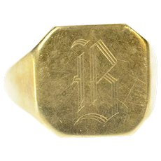 14K B Old English Letter Engraved Monogram Ring Size 6.5 Yellow Gold [CXQQ]
