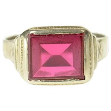 10K Art Deco Squared Syn. Ruby Men's Statement Ring Size 12 White Gold [CXQQ]