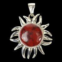 Sterling Silver Red & Black Marbled Stone Ornate Sun Pendant  [CXQQ]