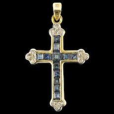 14K Princess Sapphire Diamond Accent Cross Pendant Yellow Gold [CXQQ]