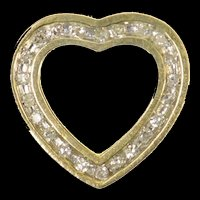 10K Squared Heart Channel Diamond Love Symbol Pendant Yellow Gold [CXQQ]