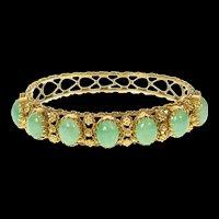 "14K Ornate Jade Cabochon Statement Bangle Bracelet 6.5"" Yellow Gold [CXQQ]"