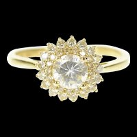 14K Round Cubic Zirconia Halo Travel Engagement Ring Size 9.25 Yellow Gold [CQXT]