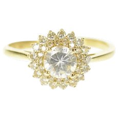 14K Round Cubic Zirconia Halo Travel Engagement Ring Size 9.25 Yellow Gold [CXQQ]
