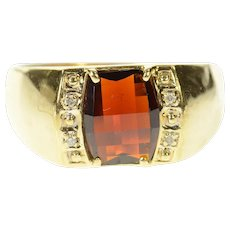 10K Men's Faceted Garnet Diamond Accent Ring Size 13.25 Yellow Gold [CXQQ]