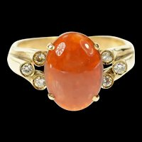 14K Ornate Oval Red Jade Diamond Victorian Ring Size 10 Yellow Gold [CXQQ]