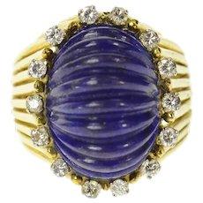 18K Lapis Lazuli Carved Cabochon Diamond Halo Ring Size 7.25 Yellow Gold [CXQQ]