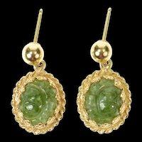 14K Ornate Retro Carved Rose Nephrite Dangle Earrings Yellow Gold [CXQQ]