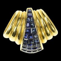 18K Princess Sapphire Cluster Ornate Slide Pendant Yellow Gold [CXQQ]