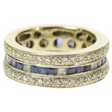 18K 1.81 Ctw 1940's Diamond Sapphire Eternity Band Ring Size 4.5 White Gold [CQXC]