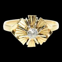 14K 1960's Classic Retro Burst CZ Travel Engagement Ring Size 7 Yellow Gold [CQXT]