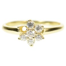 14K Flower Snow Flake Round CZ Cluster Ring Size 7.25 Yellow Gold [CQXT]