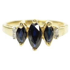 10K Three Stone Sapphire Diamond Accent Ring Size 6.5 Yellow Gold [CXQQ]