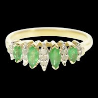 10K Marquise Emerald Diamond Accent Band Ring Size 6.75 Yellow Gold [CQXT]