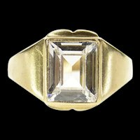 10K Emerald Cut Solitaire Travel Engagement Ring Size 7.5 Yellow Gold [CQXT]