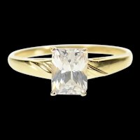14K Emerald Cut Classic Travel Engagement Ring Size 10 Yellow Gold [CQXT]