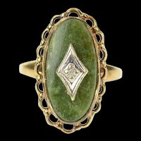 10K Green Stone Diamond Accent Retro Cocktail Ring Size 2.75 Yellow Gold [CXQQ]
