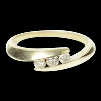 14K Three Stone Diamond Classic Bypass Ring Size 7 White Gold [CXQQ]