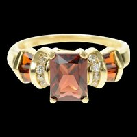 14K Emerald Cut Garnet Diamond Accent Statement Ring Size 6.75 Yellow Gold [CXQQ]