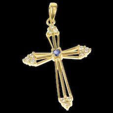 14K Classic Sapphire Diamond Cross Christian Pendant Yellow Gold [CXQQ]