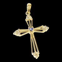 14K Classic Sapphire Diamond Cross Christian Pendant Yellow Gold [CQXC]