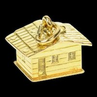 18K 3D Log Cabin House Home Building Charm/Pendant Yellow Gold [CXQQ]