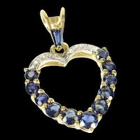 14K Natural Sapphire Diamond Accent Heart Pendant Yellow Gold [CXQQ]