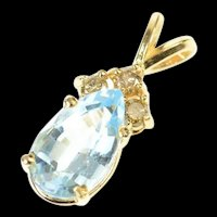 14K Pear Blue Topaz Diamond Accent Statement Pendant Yellow Gold [CXQQ]