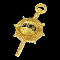 18K Black Enamel Phi Kappa Phi Honors Society Charm/Pendant Yellow Gold [CXQQ]