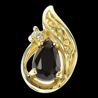 14K Pear Sapphire Diamond Accent Statement Pendant Yellow Gold [CXQQ]