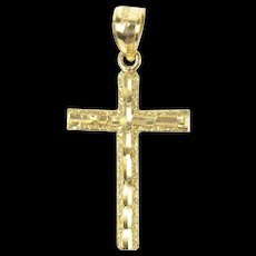10K Grooved Pattern Classic Simple Cross Christian Pendant Yellow Gold [CXQQ]