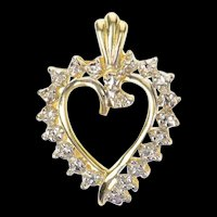 10K Diamond Swirl Heart Love Symbol Pendant Yellow Gold [CXQQ]