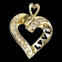 10K Love Word Diamond Heart Love Symbol Pendant Yellow Gold [CXQQ]