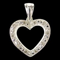 10K Diamond Classic Simple Heart Love Symbol Pendant White Gold [CXQQ]