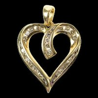 10K Classic Curvy Diamond Heart Love Symbol Pendant Yellow Gold [CXQQ]