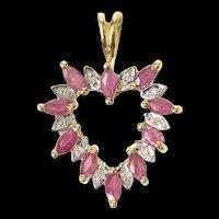 14K Marquise Ruby DIamond Accent Classic Heart Pendant Yellow Gold [CXQQ]