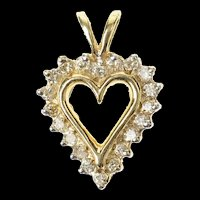 10K Classic Diamond Heart Simple Love Symbol Pendant Yellow Gold [CXQQ]