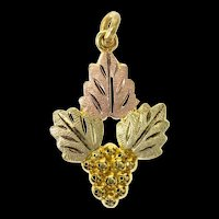 10K Black Hills Leaf Cluster Nature Motif Charm/Pendant Yellow Gold [CXQQ]
