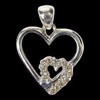 10K Interlocking Classic Diamond Heart Love Symbol Pendant White Gold [CXQQ]