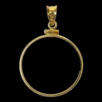 14K Italian 5 Lira Coin Bezel Holder Pendant Yellow Gold [CXQQ]