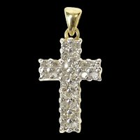10K Classic Diamond Cross Christian Faith Pendant Yellow Gold [CXQQ]
