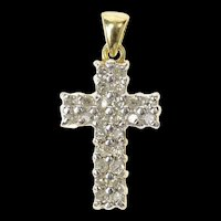 10K Classic Diamond Cross Christian Faith Pendant Yellow Gold [CQXC]
