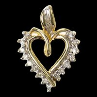 10K Heart Diamond Classic Simple Heart Pendant Yellow Gold [CXQQ]