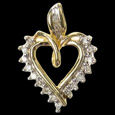 10K Heart Diamond Classic Simple Heart Pendant Yellow Gold [CXQQ]