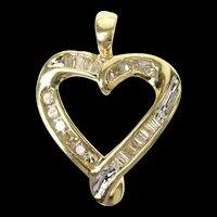 10K Channel Classic Diamond Curvy Heart Pendant Yellow Gold [CXQQ]