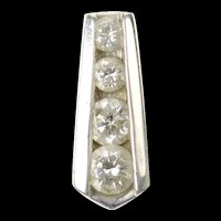 14K Graduated Diamond Bar Simple Statement Pendant White Gold [CXQQ]