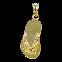 14K 3D Flip Flop Sandal Summer Beach Shoe Charm/Pendant Yellow Gold [CXQQ]