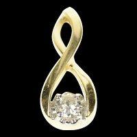 14K Twist Design Diamond Solitaire Statement Pendant Yellow Gold [CXQQ]