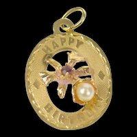 14K Retro Happy Birthday Oval Pearl Syn. Garnet Charm/Pendant Yellow Gold [CXQQ]